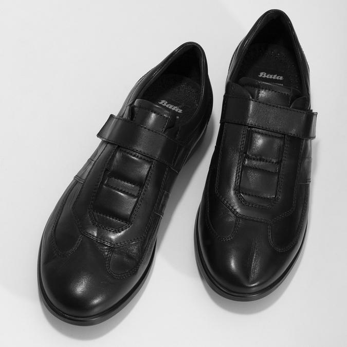 Pánska kožená obuv na suchý zips bata, čierna, 824-6666 - 16