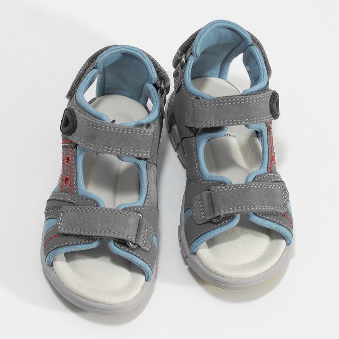 Chlapčenské šedé kožené sandále mini-b, šedá, 263-2605 - 16