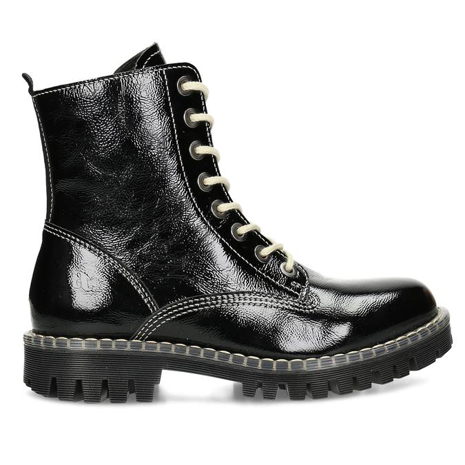 Čierna dámska kožená členková obuv bata-125th-anniversary, čierna, 536-6604 - 19