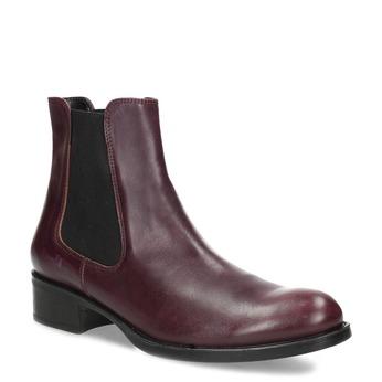Dámska vínová kožená Chelsea obuv bata, červená, 594-5448 - 13