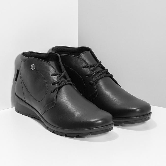 Členková čierna kožená dámska obuv comfit, čierna, 594-6707 - 26