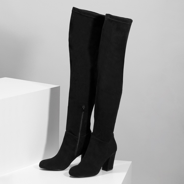 2668f323fc62d ... Čierne dámske čižmy nad kolená bata, čierna, 799-6638 - 16 ...