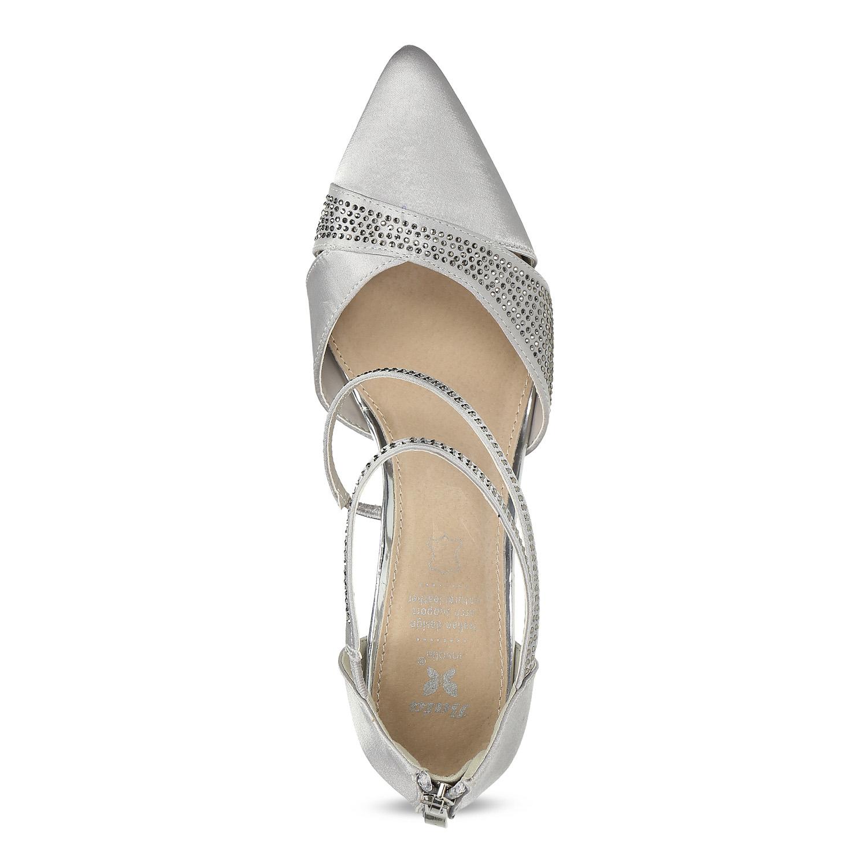 625f2b3457403 ... Strieborné dámske sandále na ihličkovom podpätku insolia, strieborná,  729-1634 - 17 ...